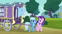 Smoke pours out of Trixie's wagon S8E19