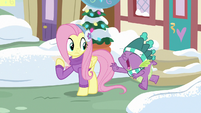 Spike thanks Fluttershy and leaves MLPBGE
