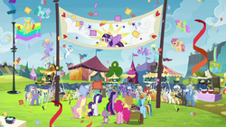 The ponies celebrating Twilight's arrival S4E22
