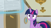 Twilight looking at Rarity's worksheets S8E16