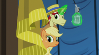 Applejack and Flim stand by with microphone S6E20
