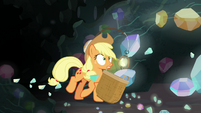 Applejack trying to catch the fragments S9E19