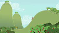 Big McIntosh climbing hill with apple cart S6E15