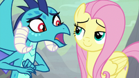 "Ember asking Fluttershy ""how?"" S9E9"