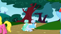 Lyra Heartstrings sitting on a bench like a human S01E07.png