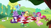 Mane 6, Maud and the pets together in a picnic S4E18