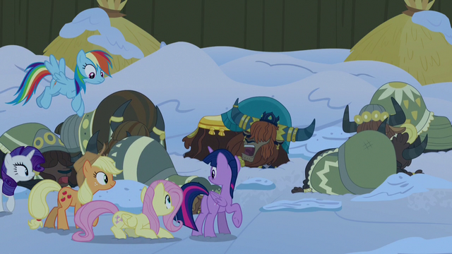 File:Mane Six sneaking past the sleeping yaks S7E11.png