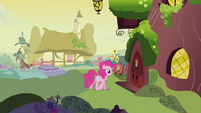 Pinkie Pie about to enter library S2E20