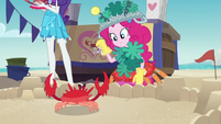 Pinkie trying to put a tiara on a crab EGDS16