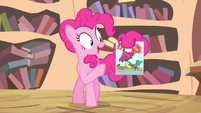 Pinkie with a flyer S4E11