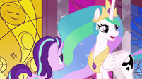 Princess Celestia asks where Luna is S7E10