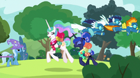 Princesses pass Wonderbolts and Trixie S9E13