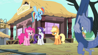 Rainbow, AJ and Pinkie looking at Rarity S4E11