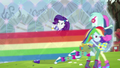 Rainbow Dash rescuing Lyra and Sweetie Drops EG4.png