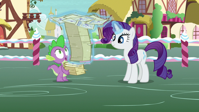 File:Rarity restacks contest flyers with her magic S7E9.png
