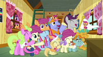Scootaloo Fan Club members cheering S8E20