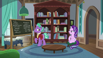 Starlight Glimmer and Firelight in their house S8E8