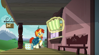Sunburst appears on the station platform S7E24