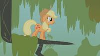 Tiny Applejack in a tree branch S1E09