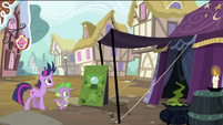 Twilight and Spike about to enter tent S2E20