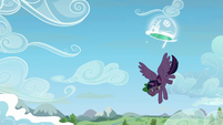 Twilight flies out of the portal with Spike S5E26