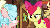 Apple Bloom looks disapprovingly at Cozy Glow S8E12