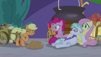 Applejack throws her hat on the ground S9E17