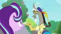 Discord removes his cap and mustache S8E15