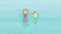Granny and Apple Bloom floating on water while swimming S4E20