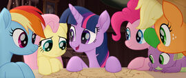 MLP The Movie Videocine - Main five, Spike, and a map