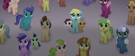 Ponies looking at the airship in fear MLPTM