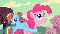 Rainbow Dash uses Pinkie Pie as a weapon S2E14