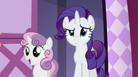 Rarity confused; Sweetie Belle pleasantly surprised S6E15