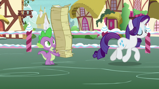 File:Spike holding restacked flyers; Rarity trots away S7E9.png