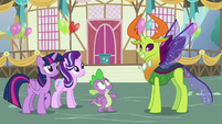 Spike surprised to see Thorax in Ponyville S7E15