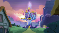 Twilight's castle exterior at near-sunset S5E22