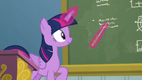 Twilight Sparkle pointing at the chalkboard S6E24