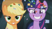 Twilight and Applejack smile S4E22