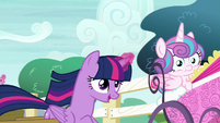 Twilight and Flurry Heart race toward the schoolhouse S7E3