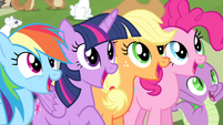 Twilight and friends cheering S4E14