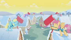 300px-Ponyville's residents, participating in the Winter Wrap Up S01E11
