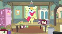 Apple Bloom standing on kitchen table S4E17
