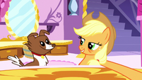 Applejack about to brush Winona S5E13