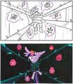Art of Equestria page 187 - S4E2 storyboard and final scene.jpg