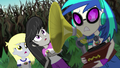 Derpy, DJ, and Octavia watch the brambles grow EG4.png