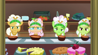 Grannies with bowls of carrot soup S8E5