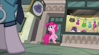 Pinkie Pie looking at Police Pony S6E3