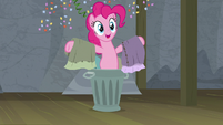 Pinkie Pie pops out of the garbage can S8E7