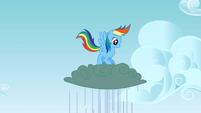Rainbow Dash saltando arriba y abajo sobre una nube T3E8