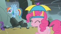 Rainbow and Pinkie rained on by dragon tears S1E07